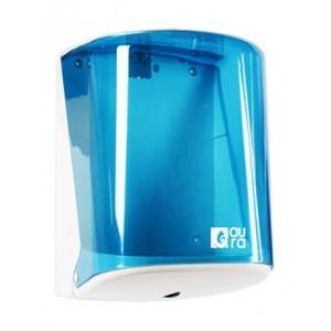 Диспенсер для рулоных полотенец диаметром до 205 мм. с центральной вытяжкой, голубой прозрачный пластик