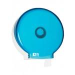 Диспенсер для туалетной бумаги, рулон диаметром до 220мм, голубой прозрачный и белый пластик.