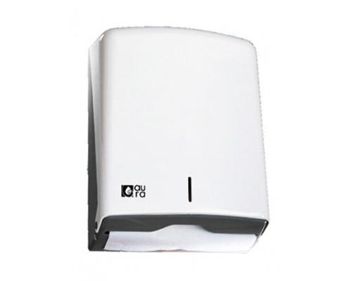 Диспенсер листовых полотенец Z, C и V -сложений, (до 600 листов) белый пластик