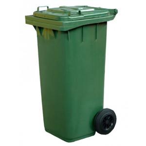 Бак для мусора с крышкой, на двух колёсах, 120 литров. зелёный.